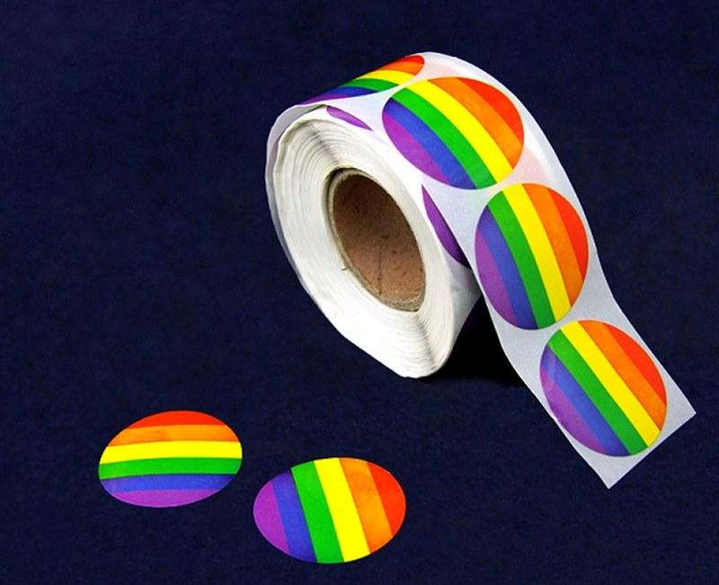 10 circle rainbow stickers