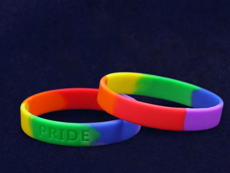 from Maxim gay rainbow wristband